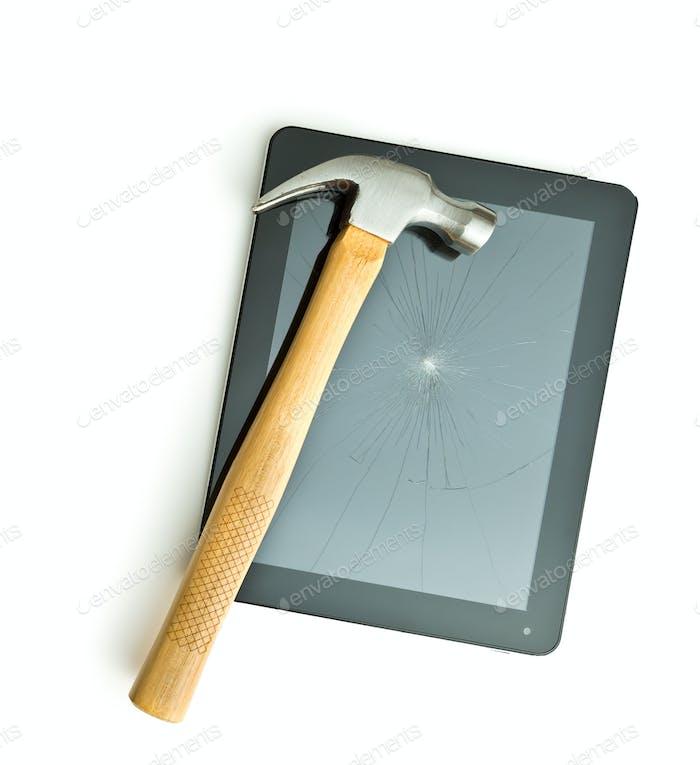 Tablet screen broken with a hammer.