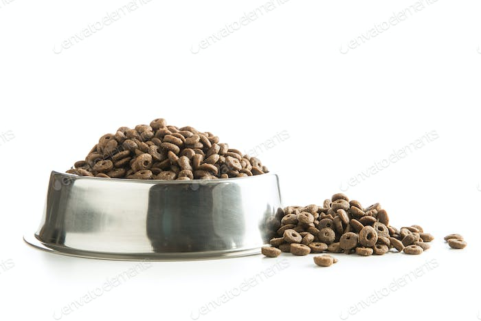 Dog food in metal bowl.