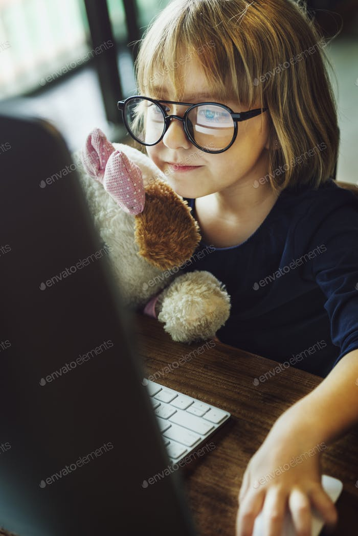Kid Girl Computer Relax Leisure Concept