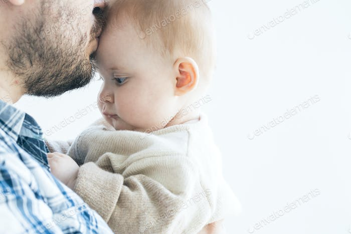 Father with baby newborn family