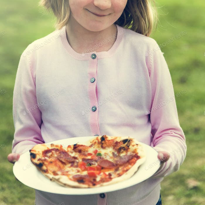 Child Holding Plate Pizza Concept
