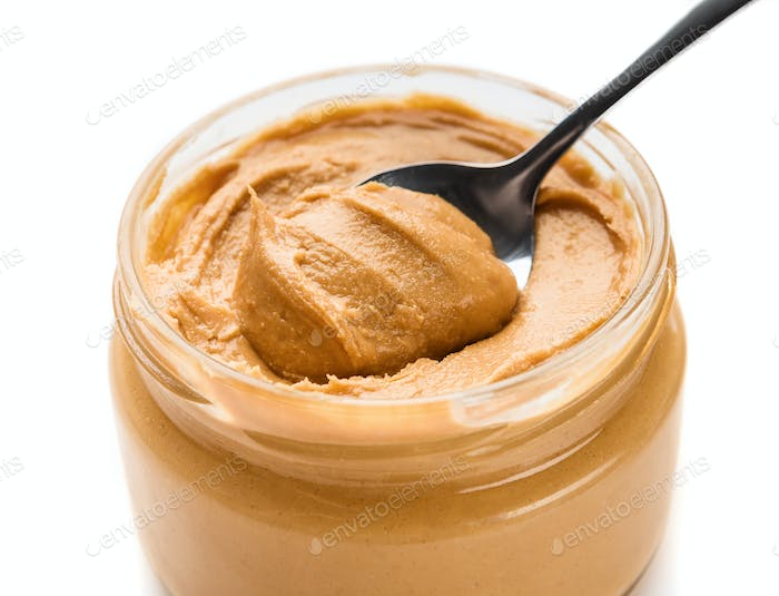Nutty paste in jar