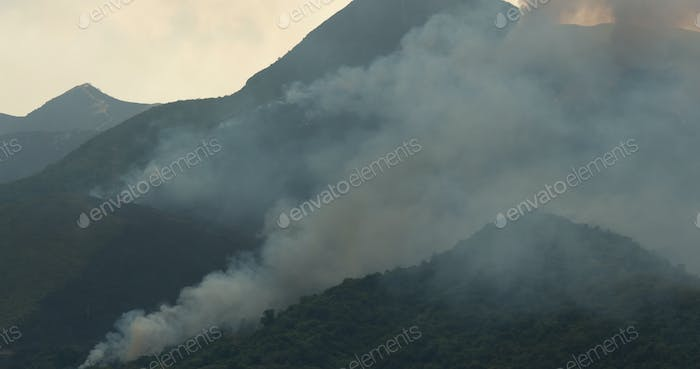 Fire accident on mountain with helicopter rescue