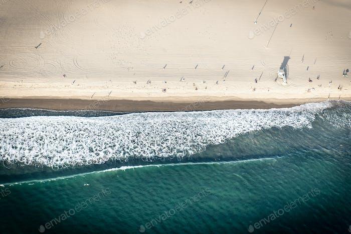 Aerial view of sand and seashore in Santa monica