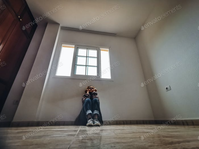 Sadness and depression concept with lonely woman