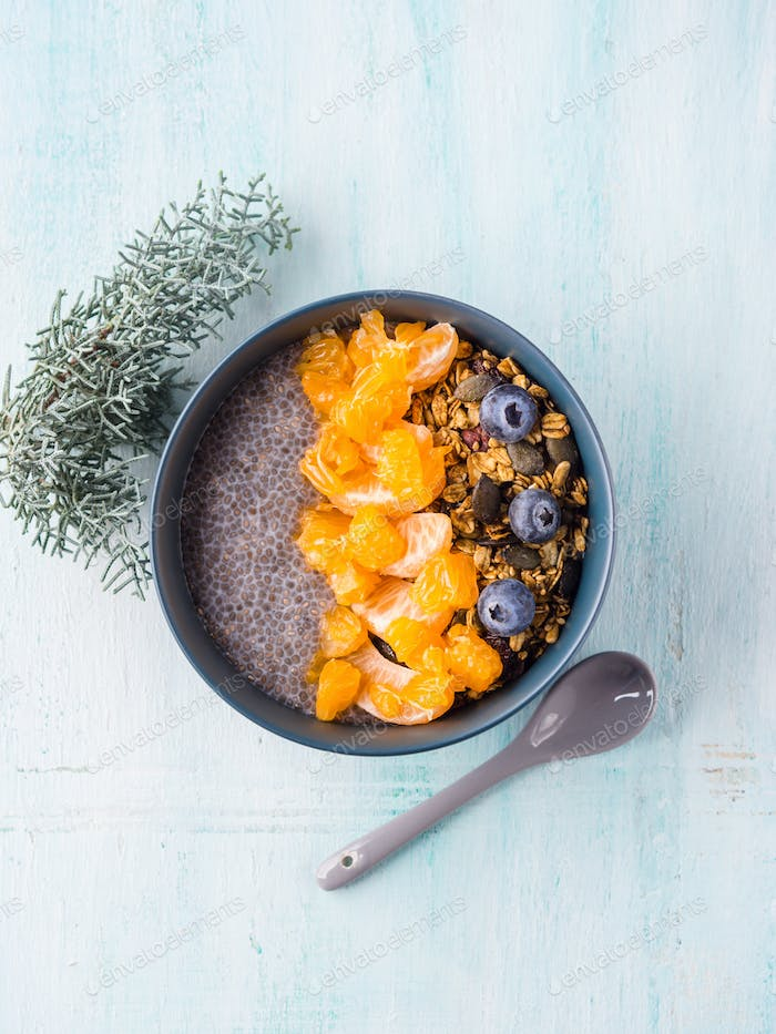 Chia pudding with tangerines and granola