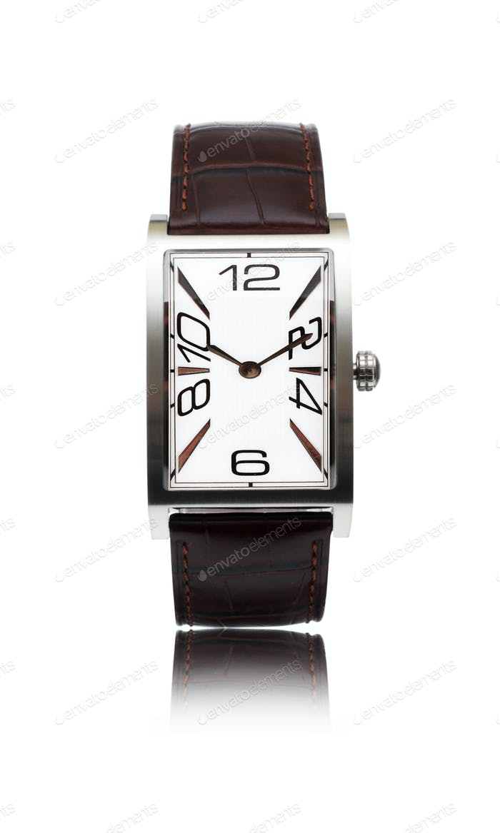 man's watch with a leather belt isolated