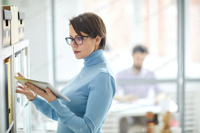 Accountant with touchpad