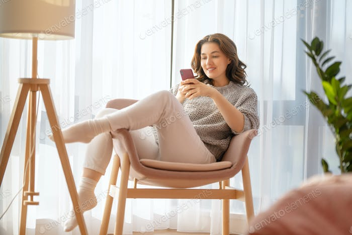 woman is using phone