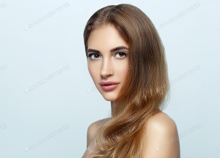 Beautiful woman natural make up classic beauty portrait