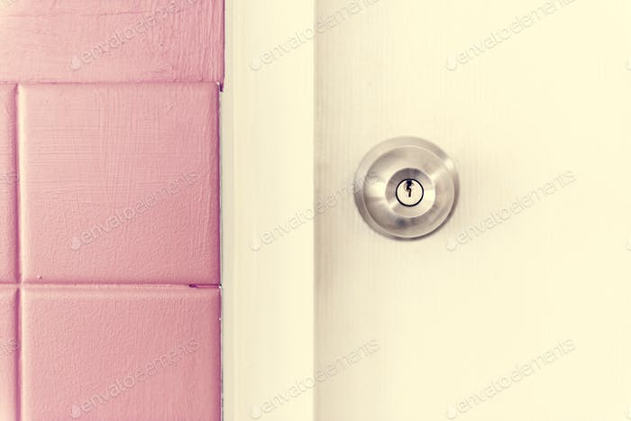 Closeup of stainless steel door knob on white door