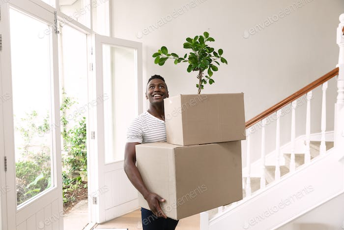 Man moving in to a new home