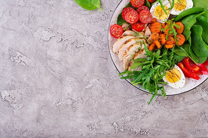 Cherry tomatoes, chicken breast, eggs, carrot, salad with arugula  and spinach.
