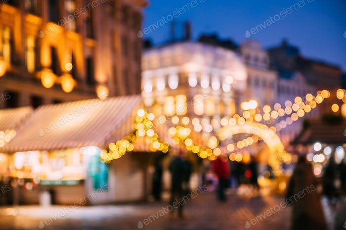 Abstract Blurred Bokeh Boke Background Of Traditional Christmas