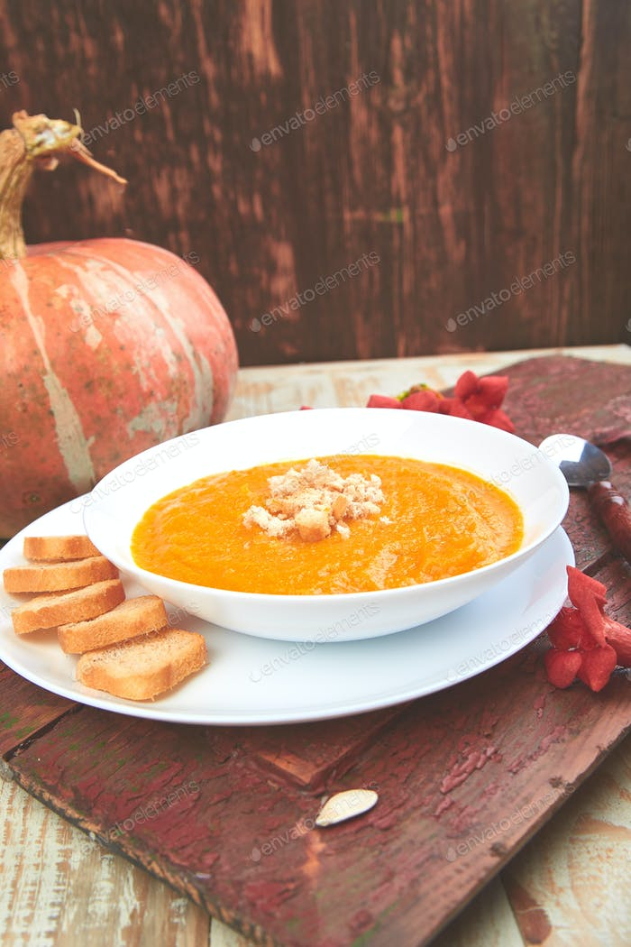 Cream of pumpkin soup. Thanksgiving Day. vegetarian