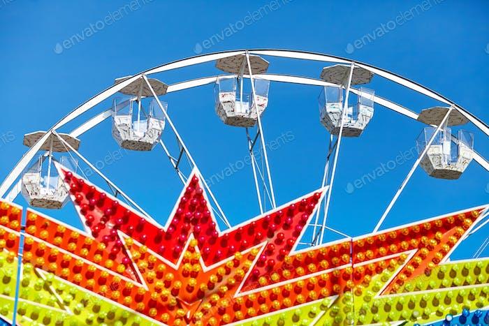 Ferris wheel in an amusement park.