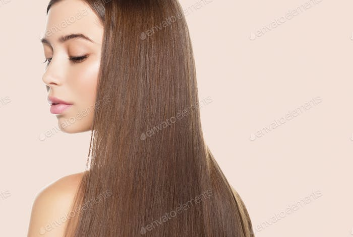 Beauty skin woman healthy hair and skin care concept over pink background