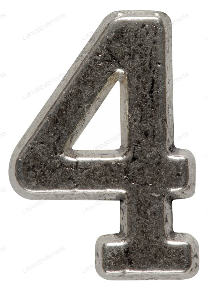 Metal numeral 4 four, isolated on white background, with clippin