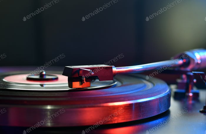 Close up of turntable neede on a vinyl record