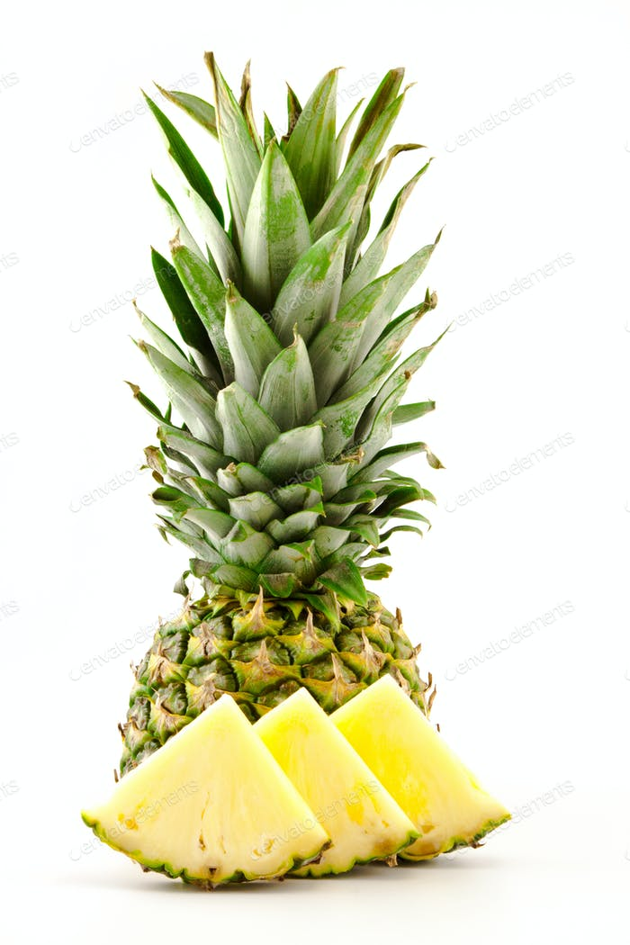 half pineapple and slices on a white background