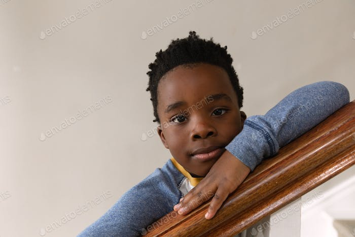 Boy spending time at home