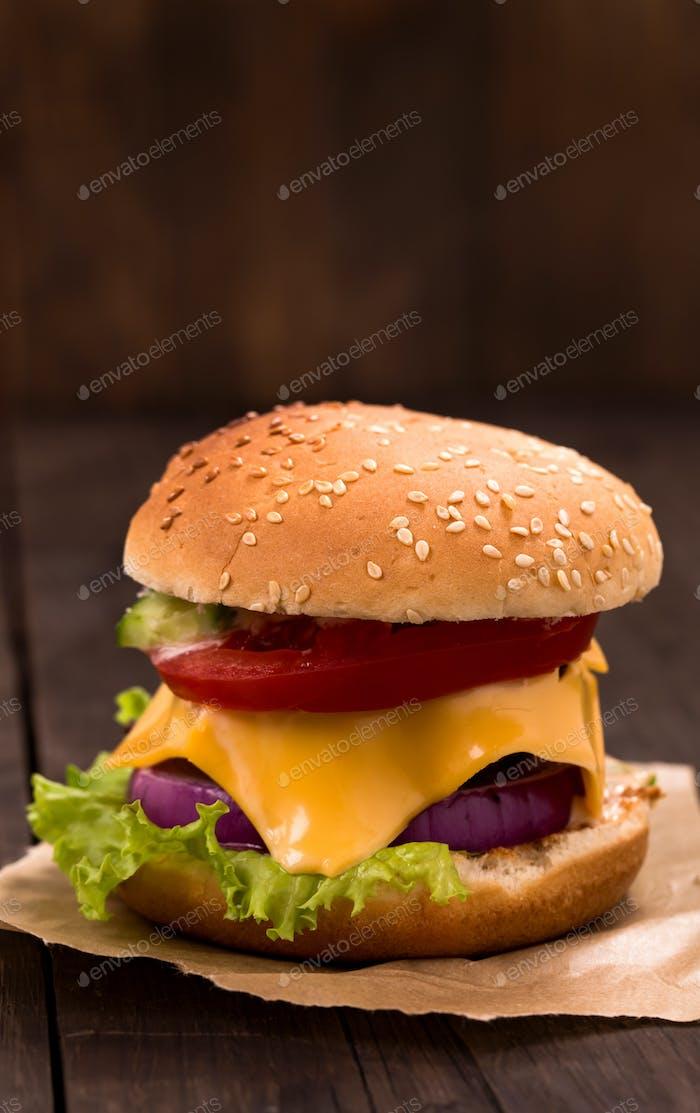 Cheeseburger closeup shot
