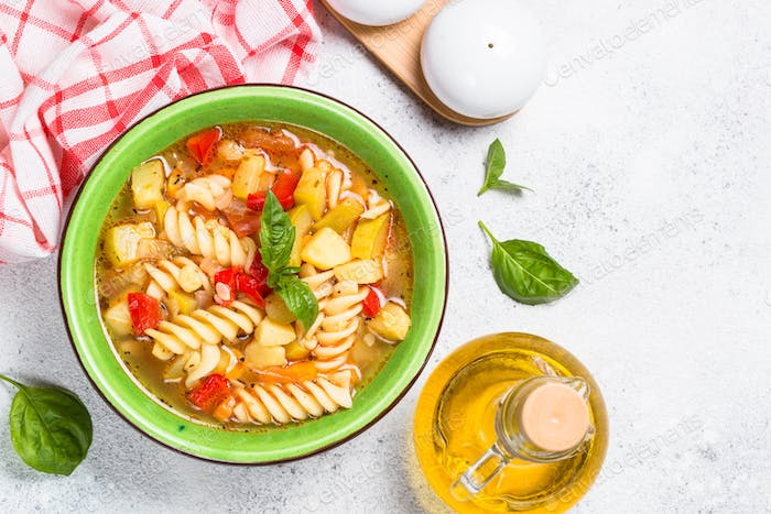 Minestrone with vegetable and pasta top view.