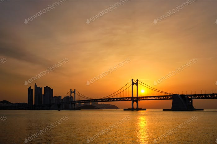 Gwangan Bridge on sunrise. Busan, South Korea