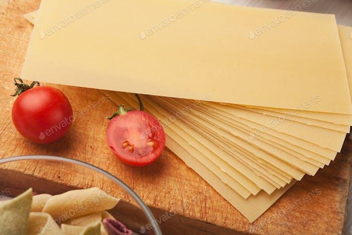 Cooking handmade pasta background