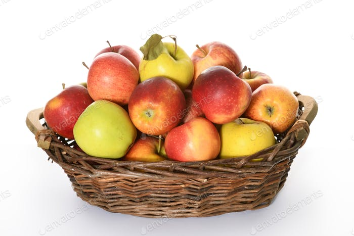 basket with colorful apples
