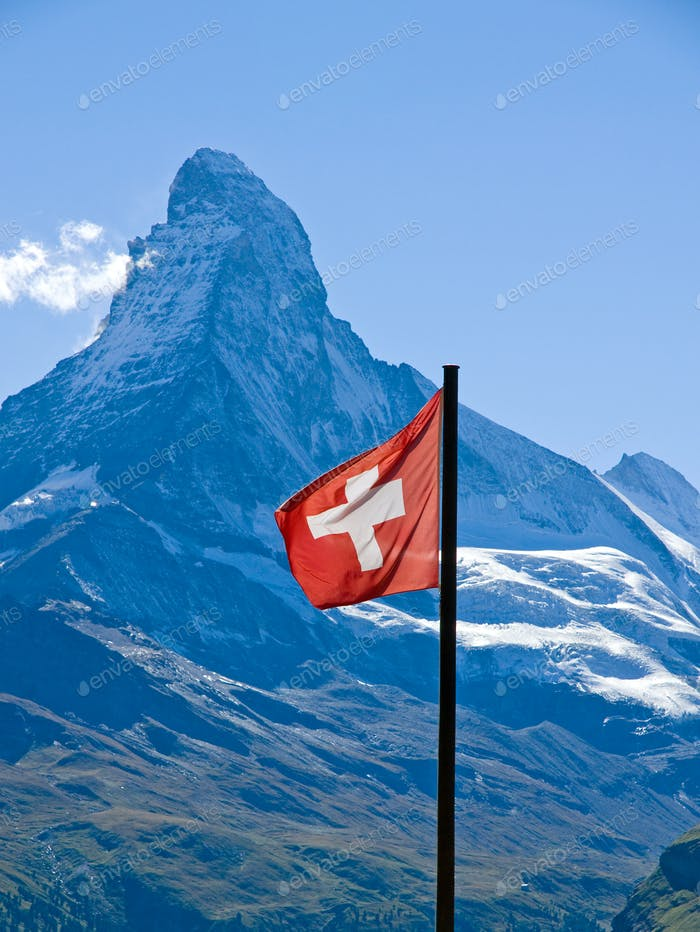 Swiss flag with the Matterhorn