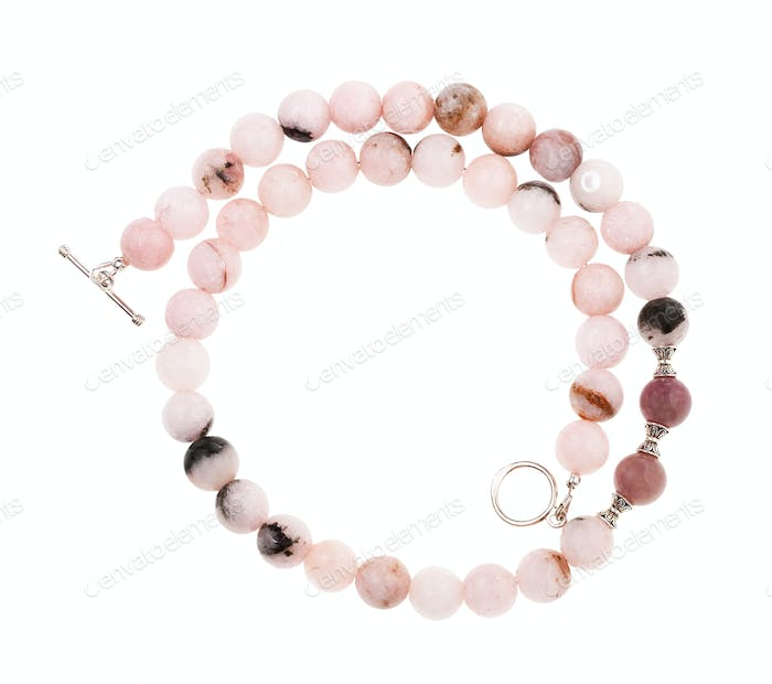 necklace from cherry blossom quartz beads isolated