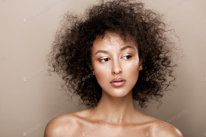 Fashion studio portrait of beautiful african american woman