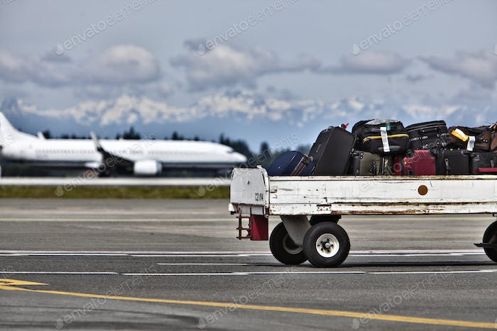 Luggage Trailer on the Airport Tarmac