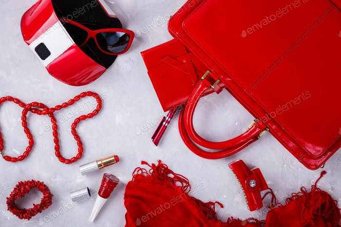 Still life of fashion woman red color