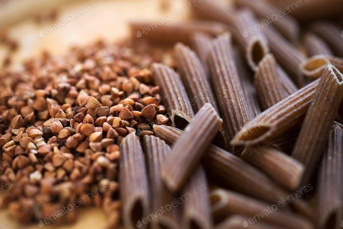 Uncooked buckwheat pasta-gluten free