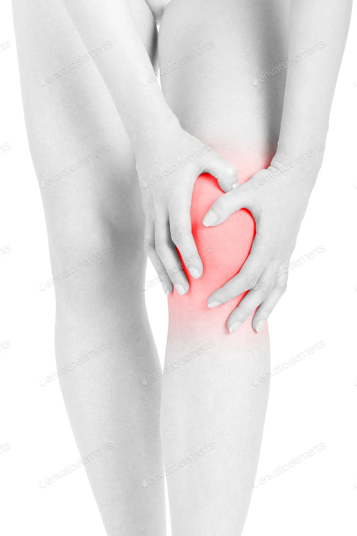Woman fatigued legs with hands touching knee, red area isolated