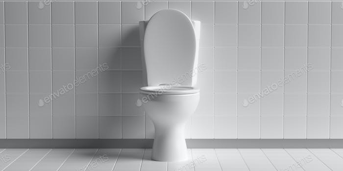 Toilet bowl on white background, copy space. 3d illustration