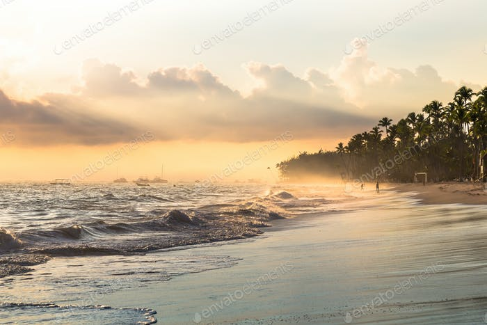 Sun ray in the morning through fog, Atlantic ocean, Bavaro