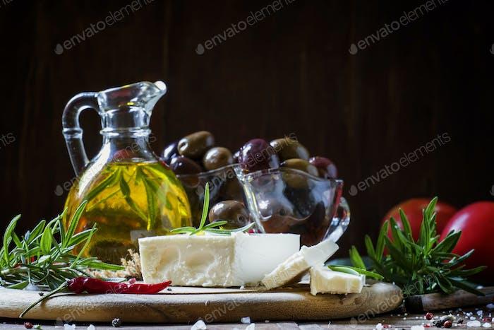 Soft greek feta cheese with rosemary