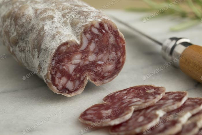 Sliced French saucisson sec