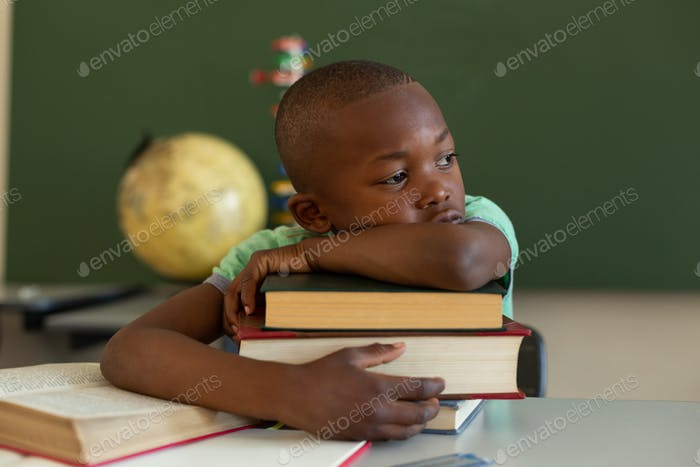 SSchoolboy leaning on books at desk in classroom at elementary school