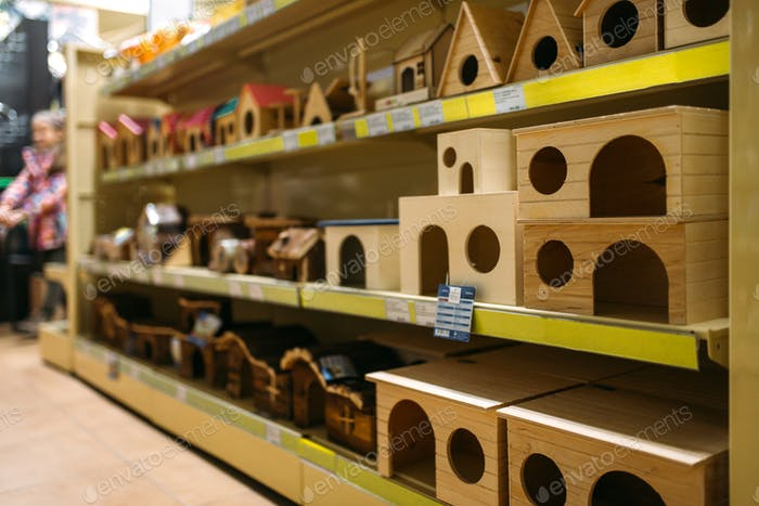 Inside pet store, shelves with accessories
