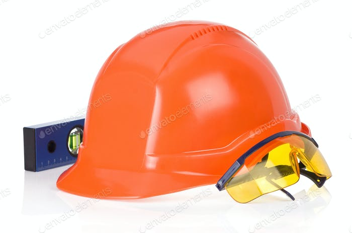 construction helmet tool on white