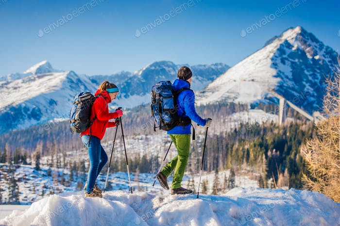 Young couple on a hike