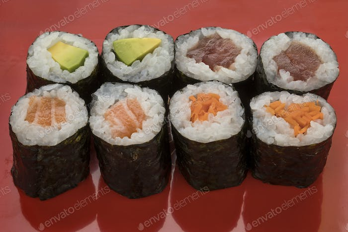 Traditional Japanese sushi maki