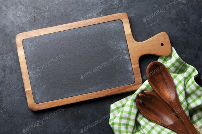 Cooking utensils on stone table