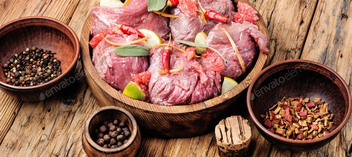 Beef meat in citrus marinade