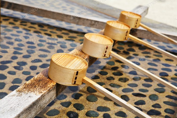 Traditional purification dipper in Japanese temple