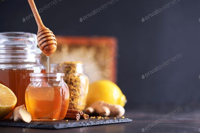 Alternative medicine concept. Ingredients for flu fighting natural hot drink. Copy space. Lemon
